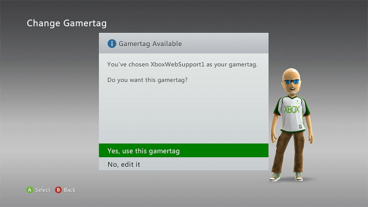 Change Xbox Live Gamertag-Use Xbox 360-Yes Use this Gamertag
