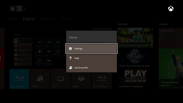 Change Xbox Live Gamertag-Use Xbox One-Select Settings