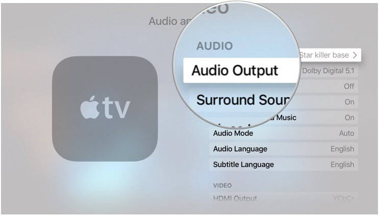 HomePod with Apple TV-Audio Output in Settings on Apple TV