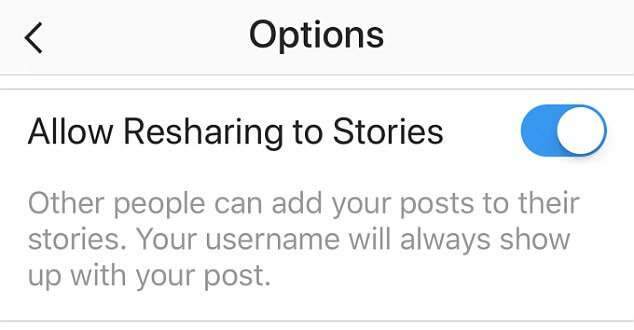 Instagram Regram Feature-Allow others to share your posts to their stories