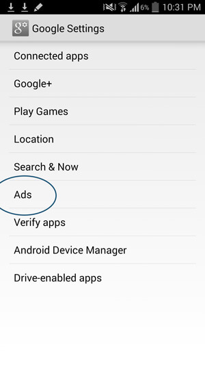Remove Facebook Browser History Ads on Android- Ads Option