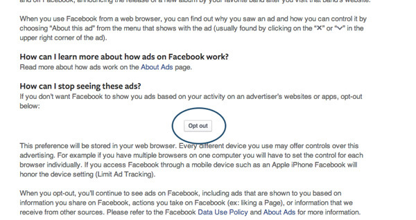 Remove Facebook Browser History Ads on the Web - Opt Out Button