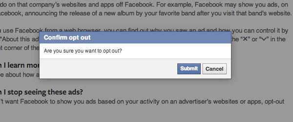 Remove Facebook Browser History Ads on the Web - Submit Button
