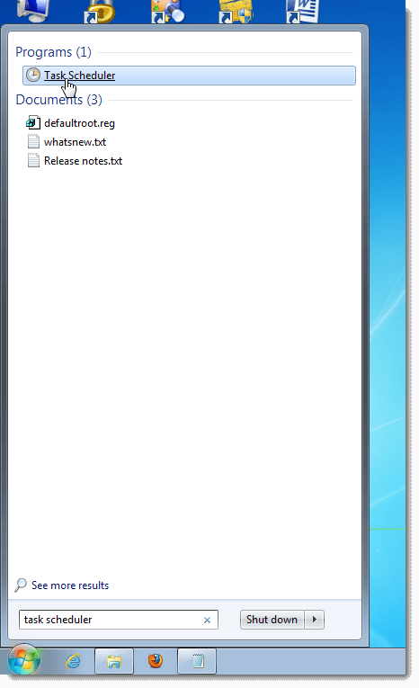Create an Alarm in Windows 7-Open Task Scheduler