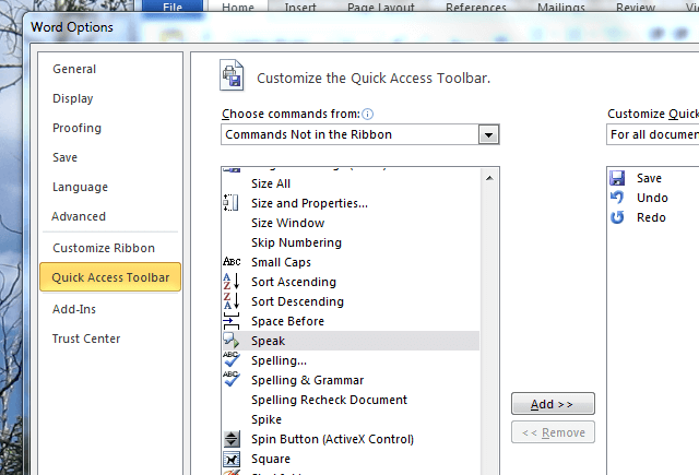 Make Windows Computer Speak-Microsoft Word-Quick Access Toolbar-More Commands-Speak
