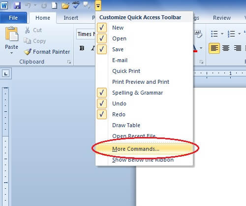 Make Windows Computer Speak-Microsoft Word-Quick Access Toolbar-More Commands