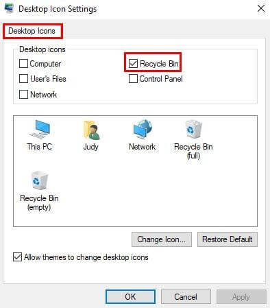 Remove the Recycle Bin from Windows 10-Hide Recycle Bin in Windows 10-Uncheck the Recycle Bin Box