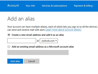 Secure Your Microsoft Account-Use Alias Accounts to Hide Your Real Address