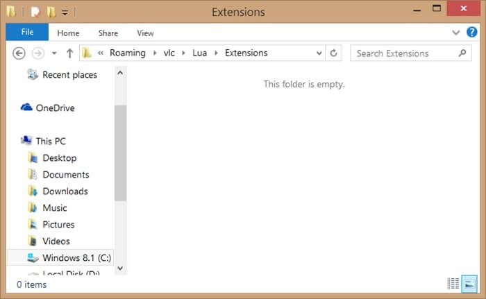 Add Extensions to VLC-Open Extensions Folder