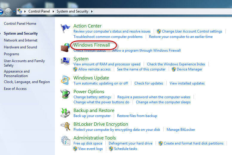 Disable Firewall in Windows 7-Click Windows Firewall