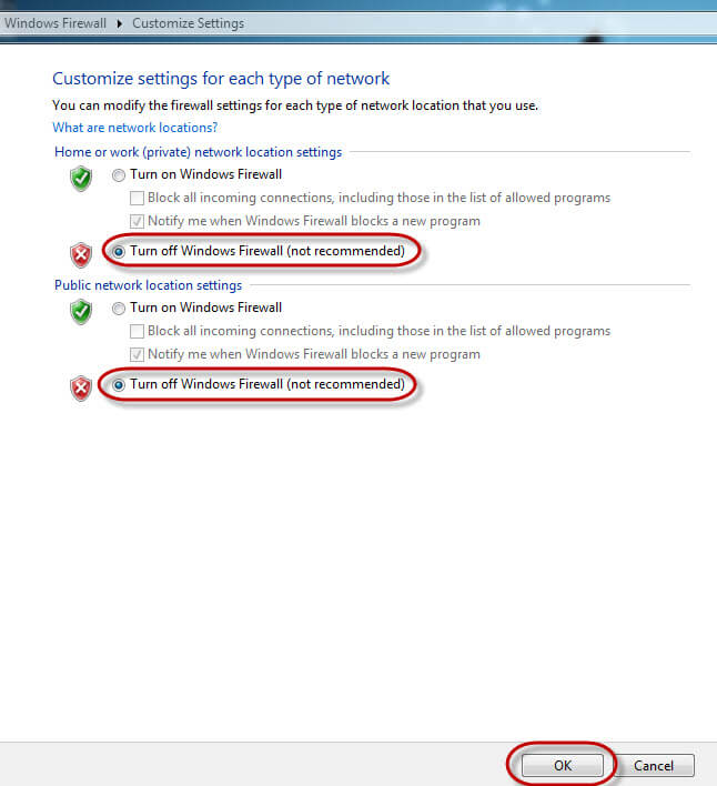 Disable Firewall in Windows 7-Click the Radio Buttons to Turn off Windows Firewall