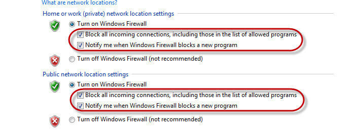 Disable Firewall in Windows 7-Inner Settings of the Turn on Windows Firewall Option