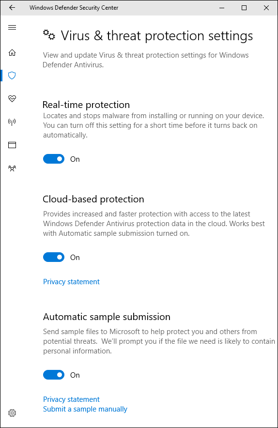 Use Windows Defender to Remove Virus-Configure Windows Defender Settings