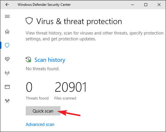 Use Windows Defender to Remove Virus-Perform Quick Manual Scan