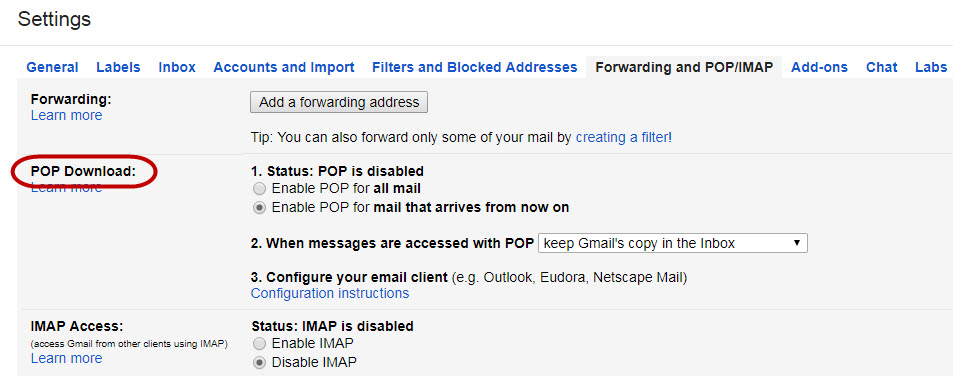 Get More Space in Gmail Account-Download Local Copies via POP