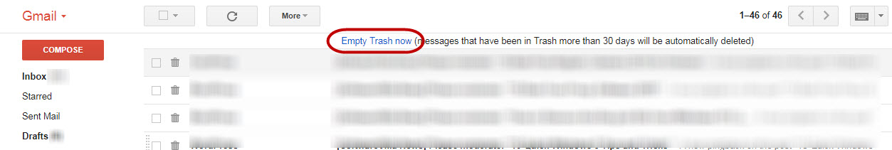 Get More Space in Gmail Account-Empty Trash and Spam Folders.Trash